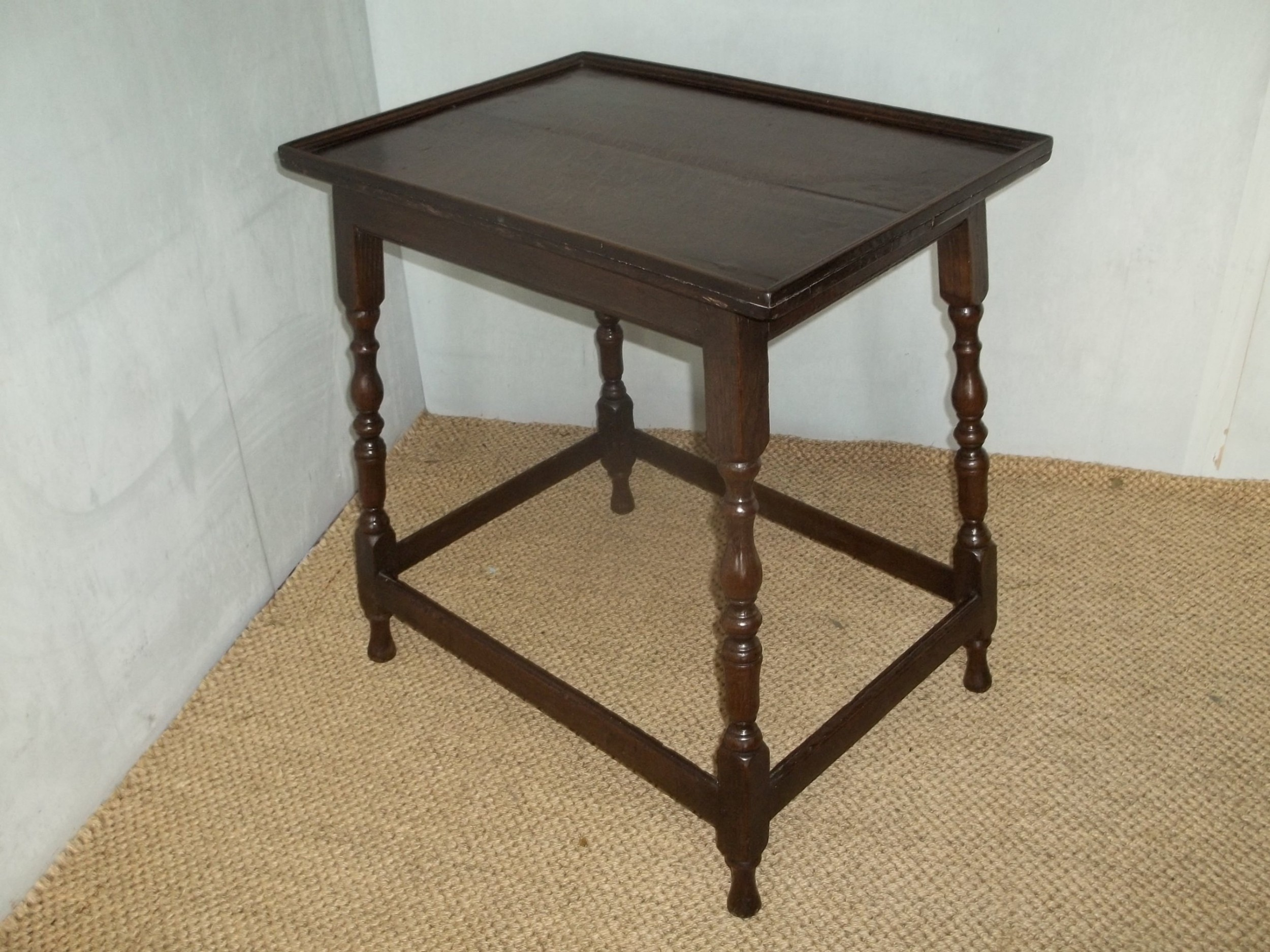 antique william and mary extremely rare oak silver side lamp hall table