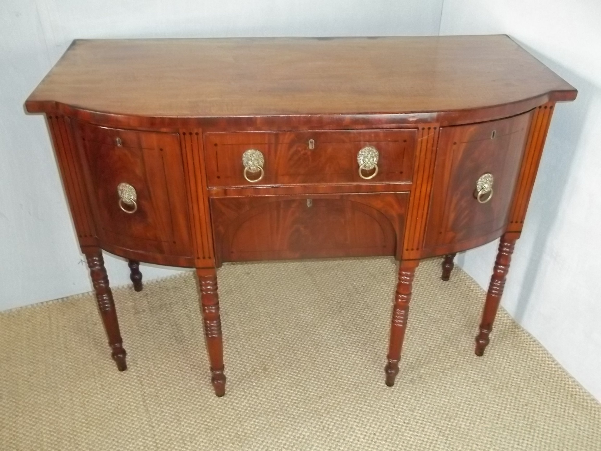 superb quality small regency mahogany bowfront inlaid sideboard serving table of bow break front c1810