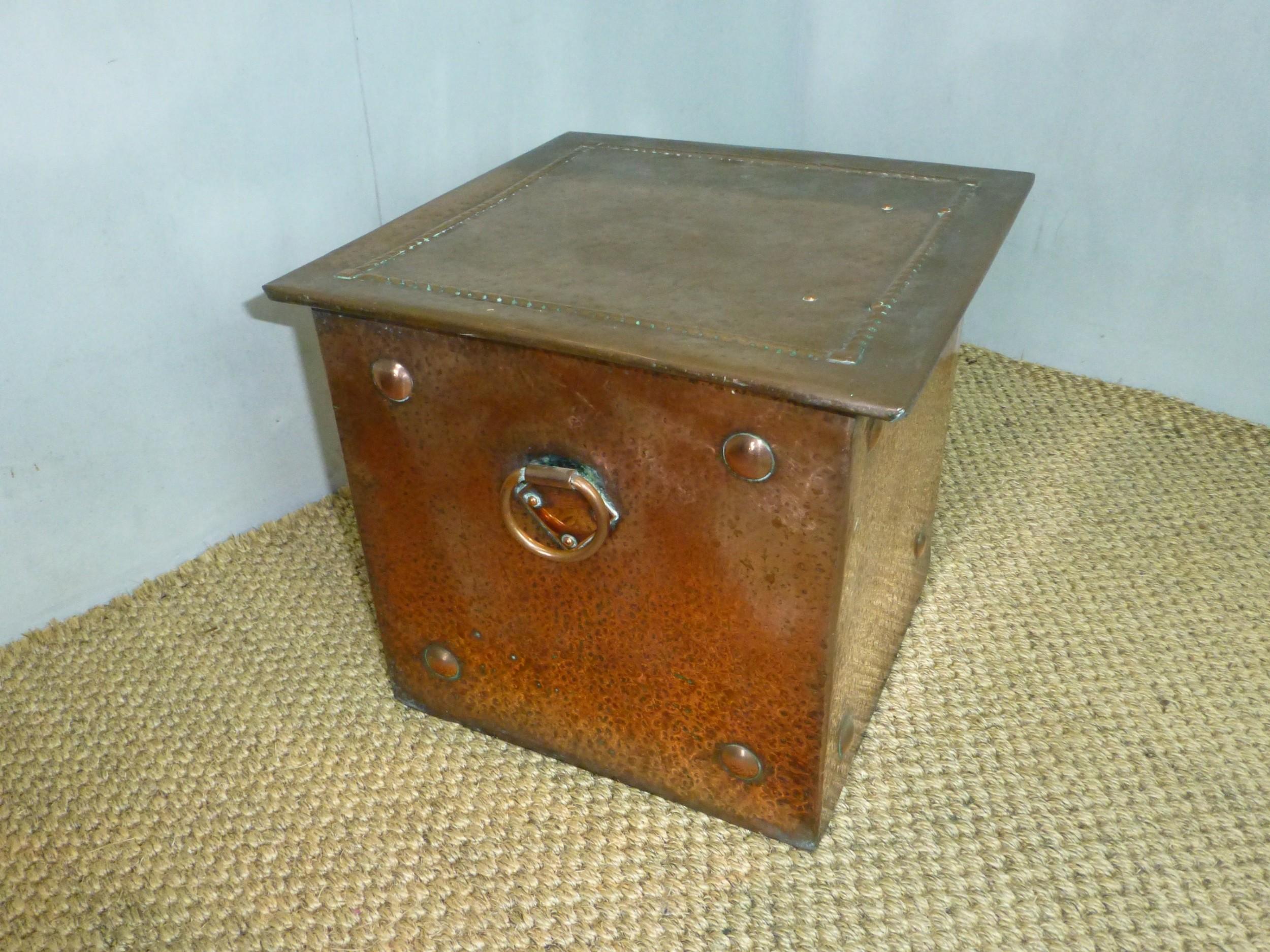 arts and crafts copper coal purdonium bucket store c1880
