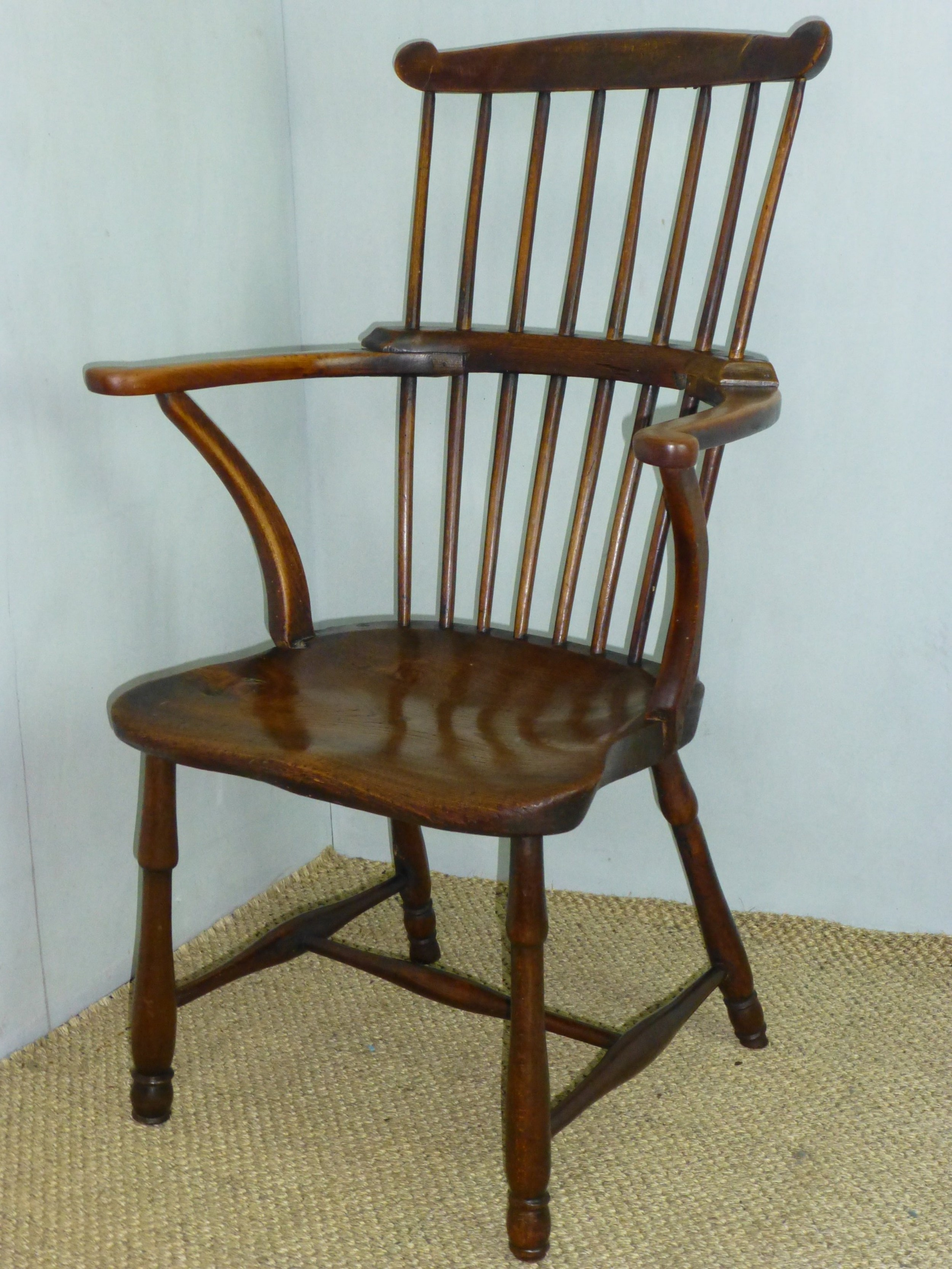 primitive18th century comb back stick windsor west country elm and ash armchair