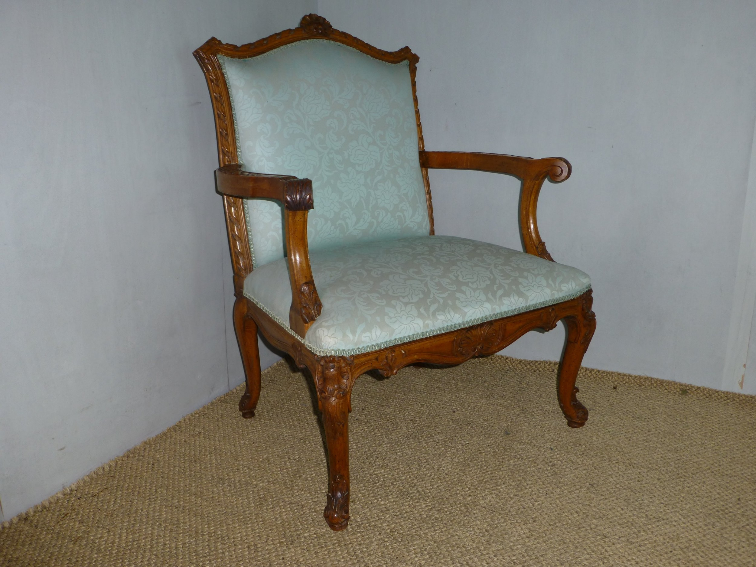 fabulous large quality 19th century walnut gainsborough fauteuil open elbow library upholstered arm chair