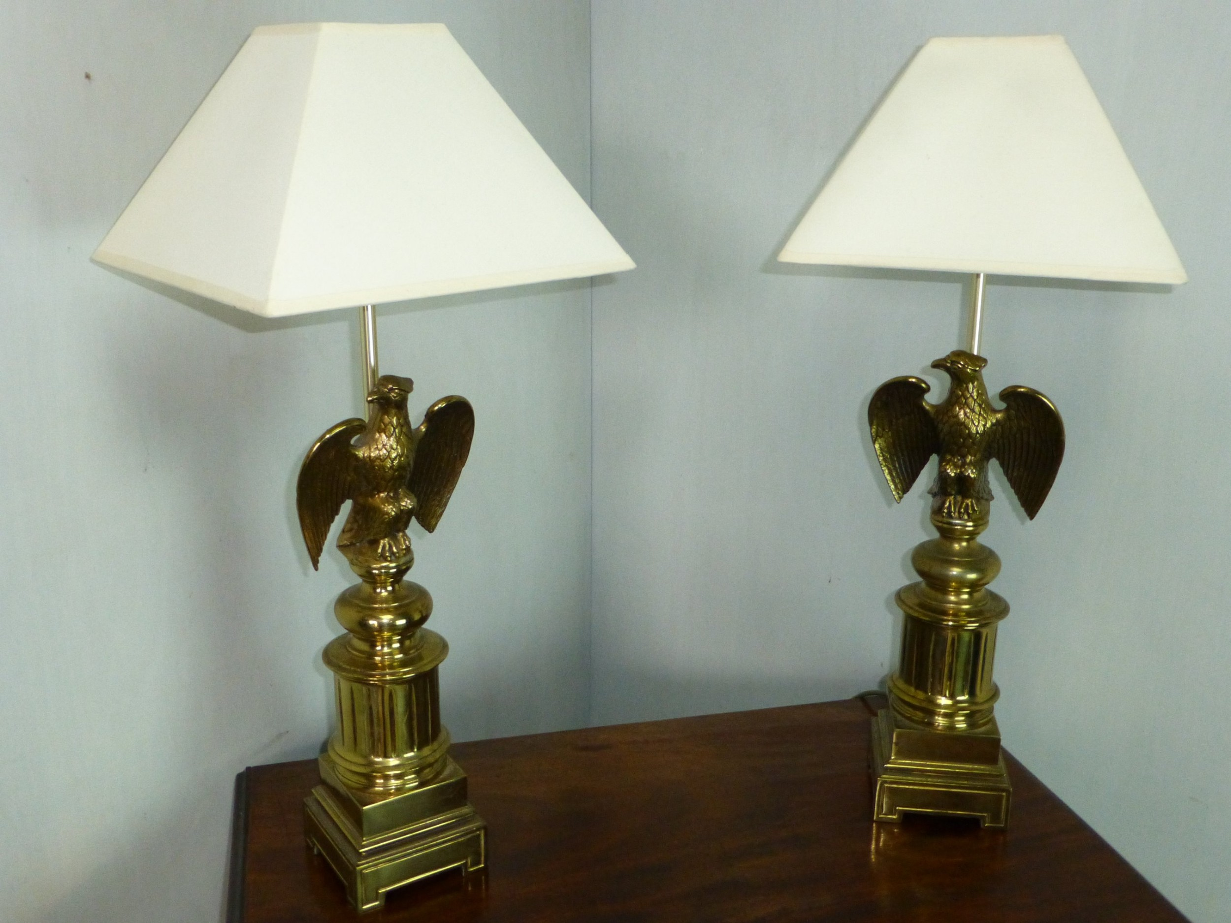 antique pair of large cast brass lampsc1930