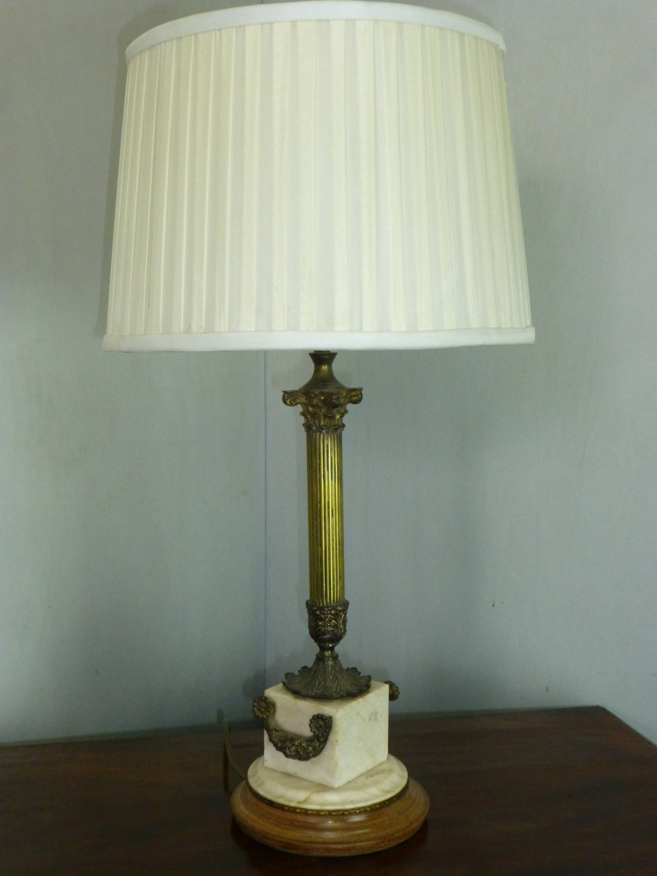 stunning early 2oth century marble and brass table lamp c 1910