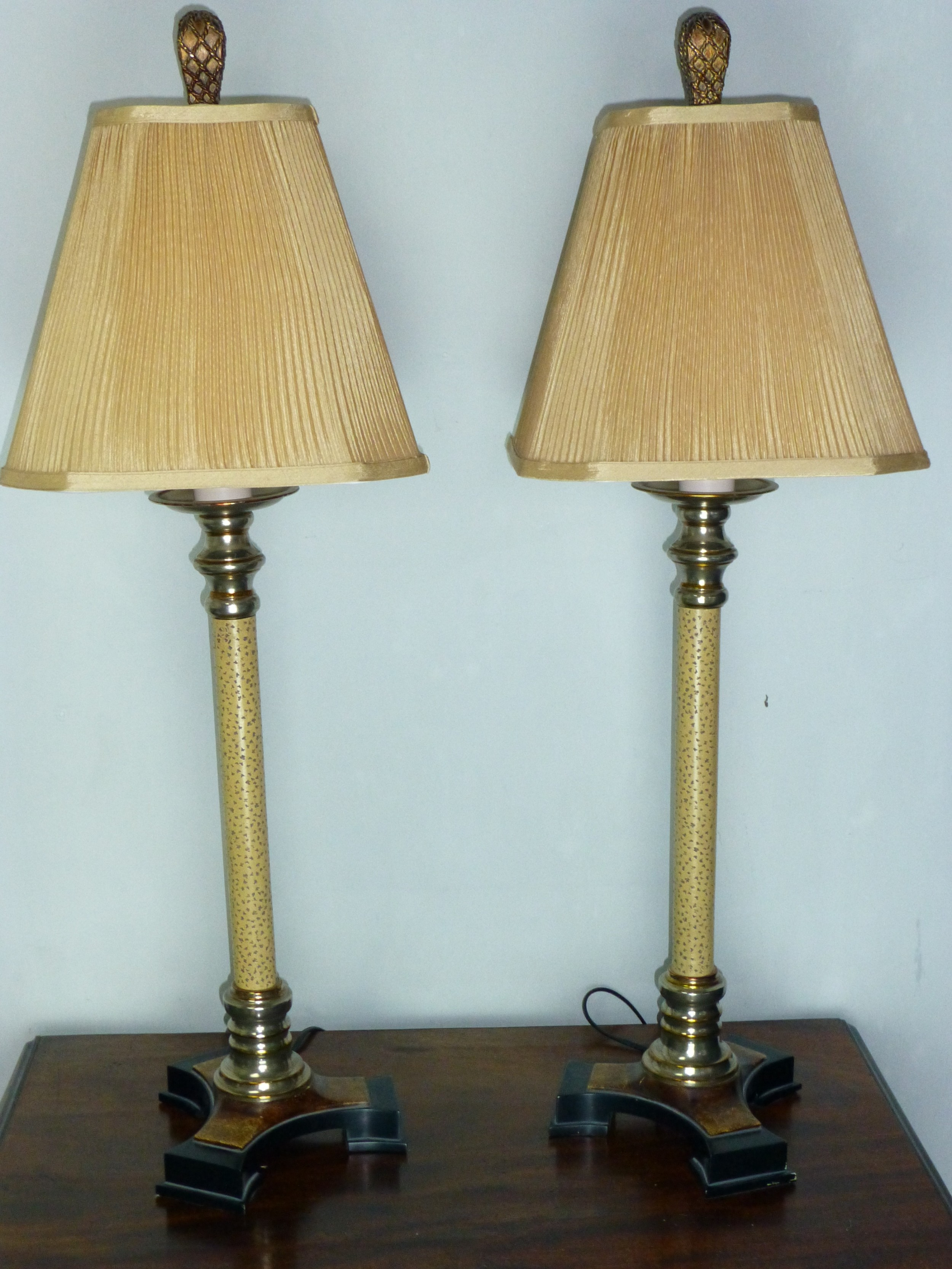 a splendid pair of large chrome and marble effect table lamps c1930