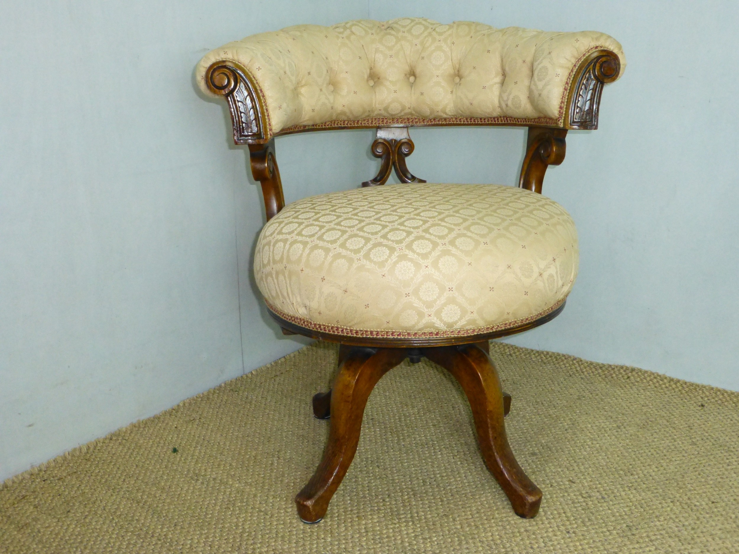 fabulous quality revolving swivel 19th century walnut and oak upholstered captains swivel office desk arm chair