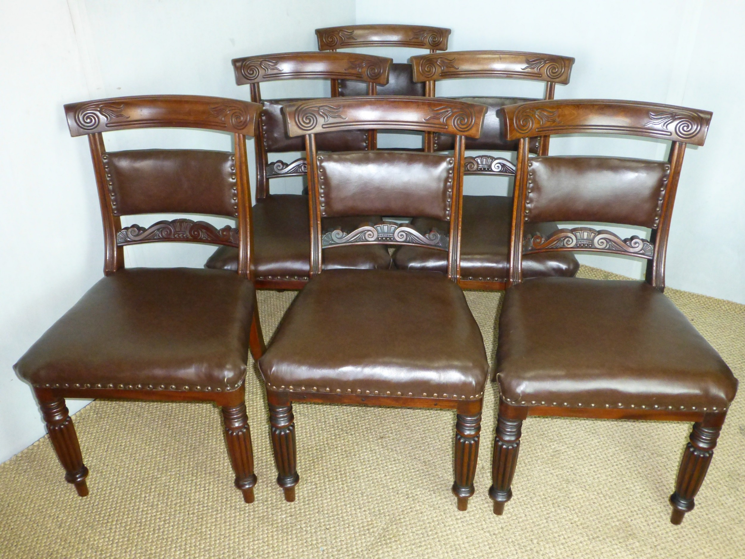 fabulous quality set of six regency georgian 6 upholstered gilllows mahogany dining chairs