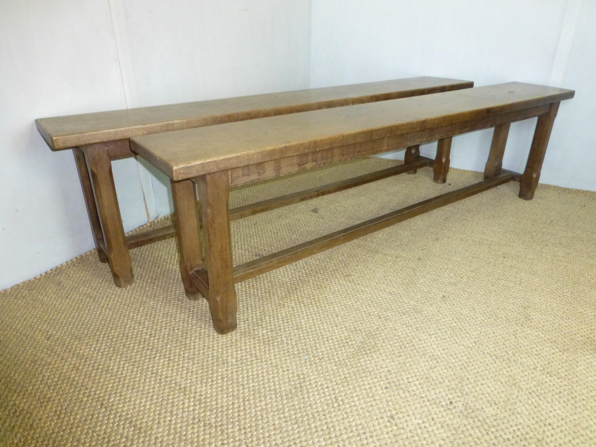 fabulous pair of trestle design 19th century oak benches circa 1870