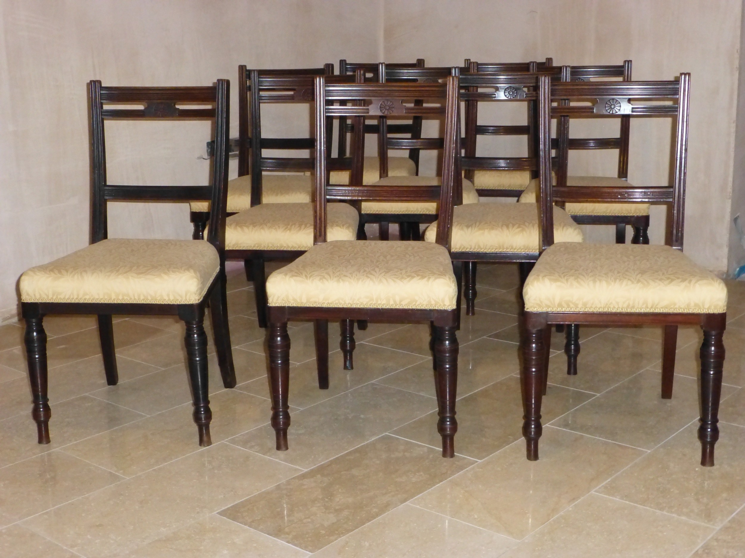 antique set of ten 19th mahogany upholstered 10 dining chairs by james shoolbred london