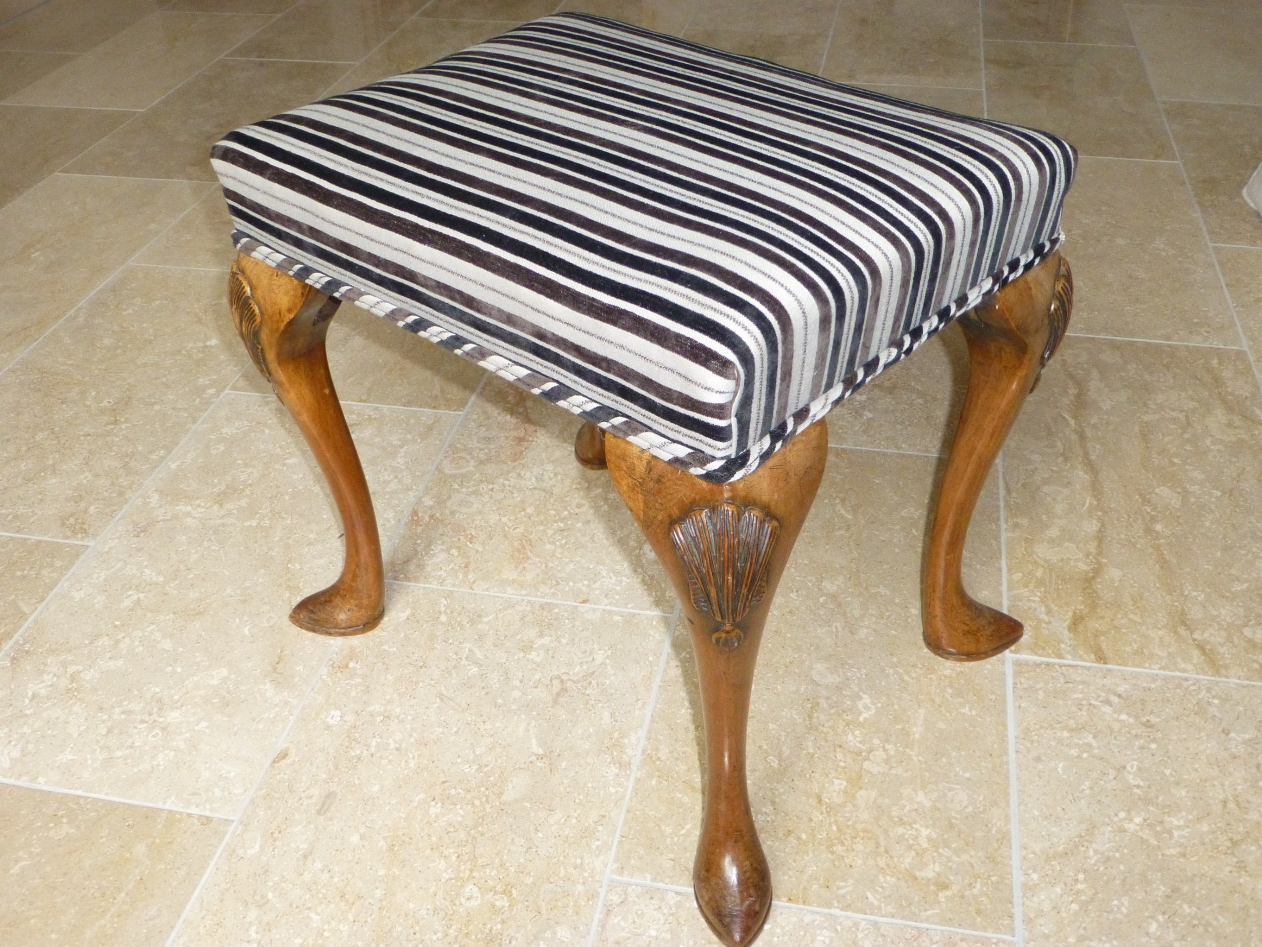a queen anne style walnut upholstered dressing table stool c1900