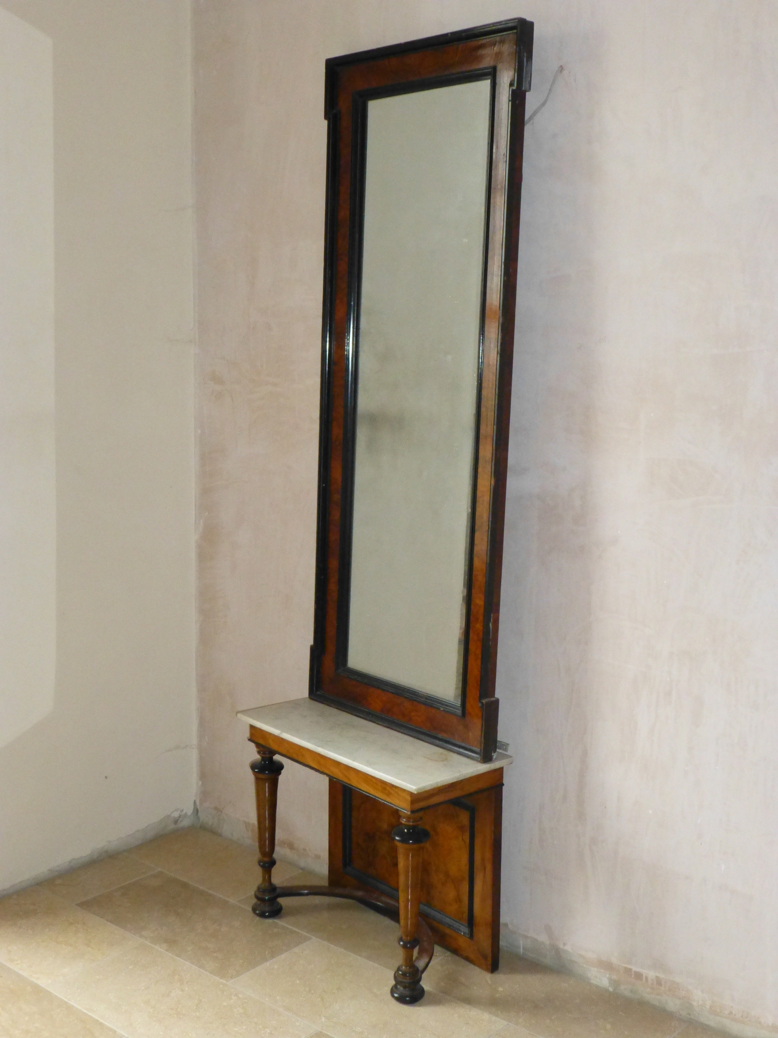 19th century burr walnut marble topped console table and pier mirror