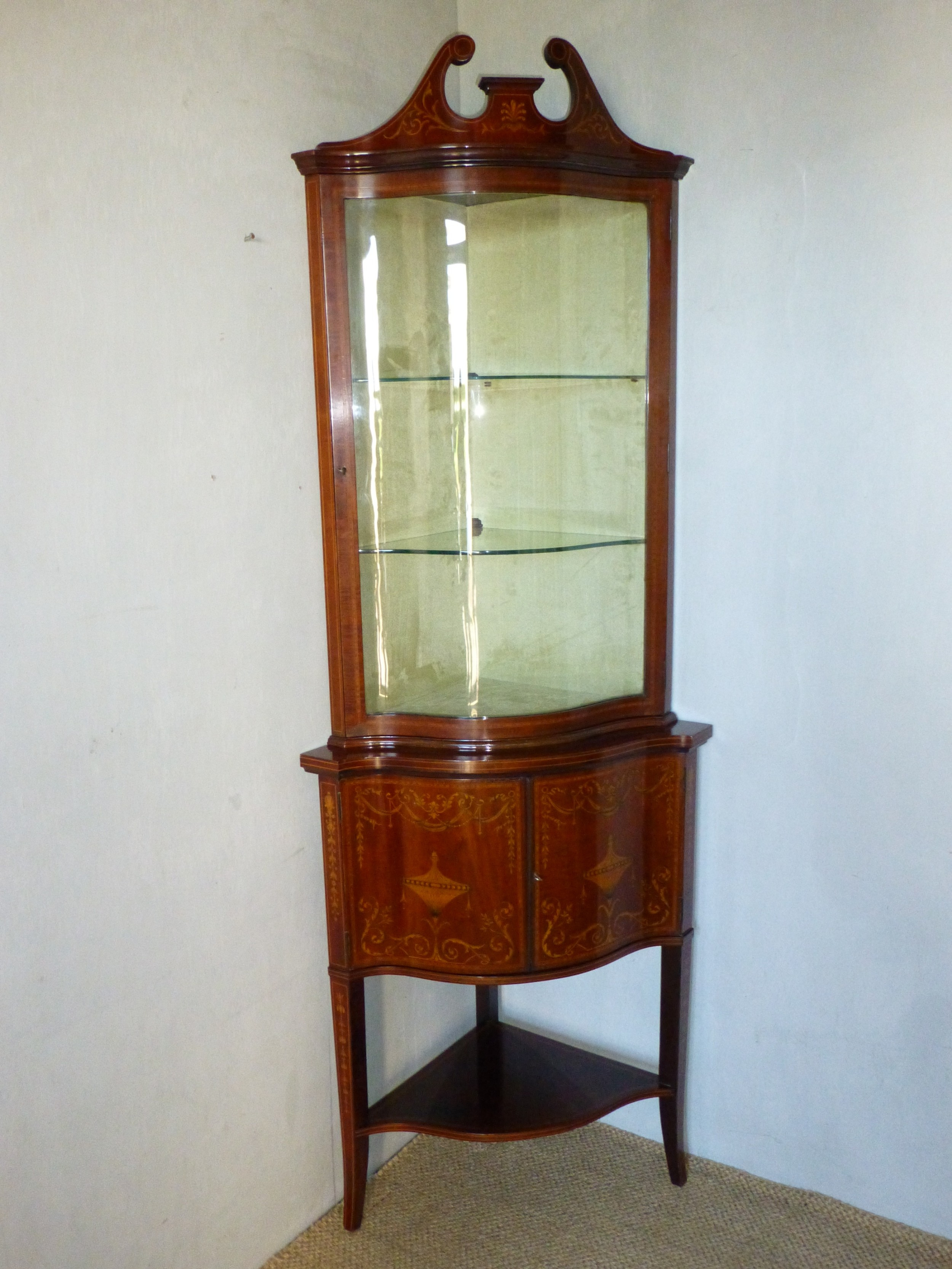 edwards and roberts mahogany marquetry inlaid serpentine fronted bowfront standing double height corner cupboard cabinet c1900