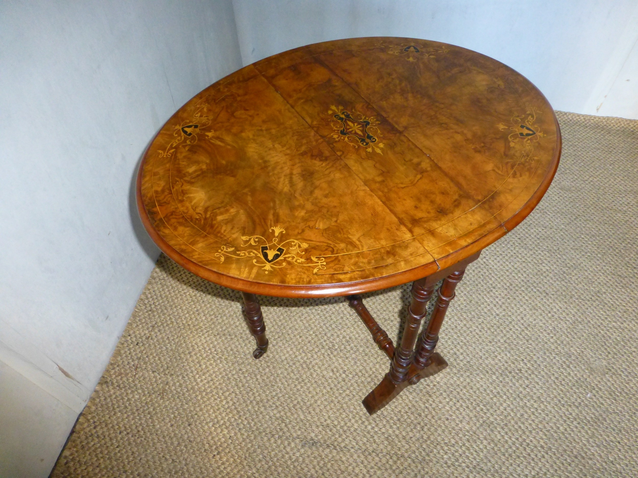 baby burr walnut marquetry inlaid small sutherland coffee table