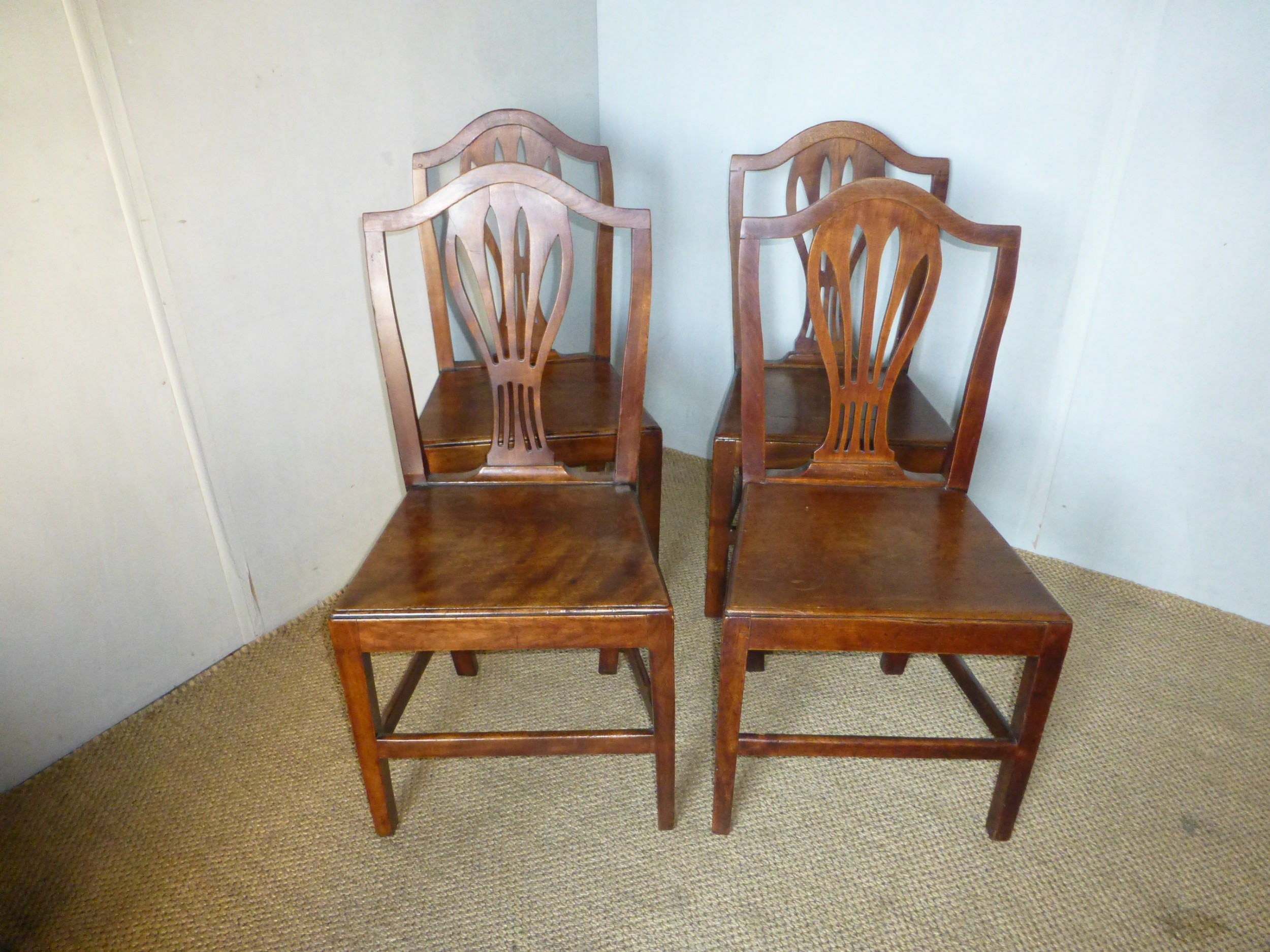 set of four 4 18th century georgian welsh oak and fruitwood farmhouse dining chairs c1790