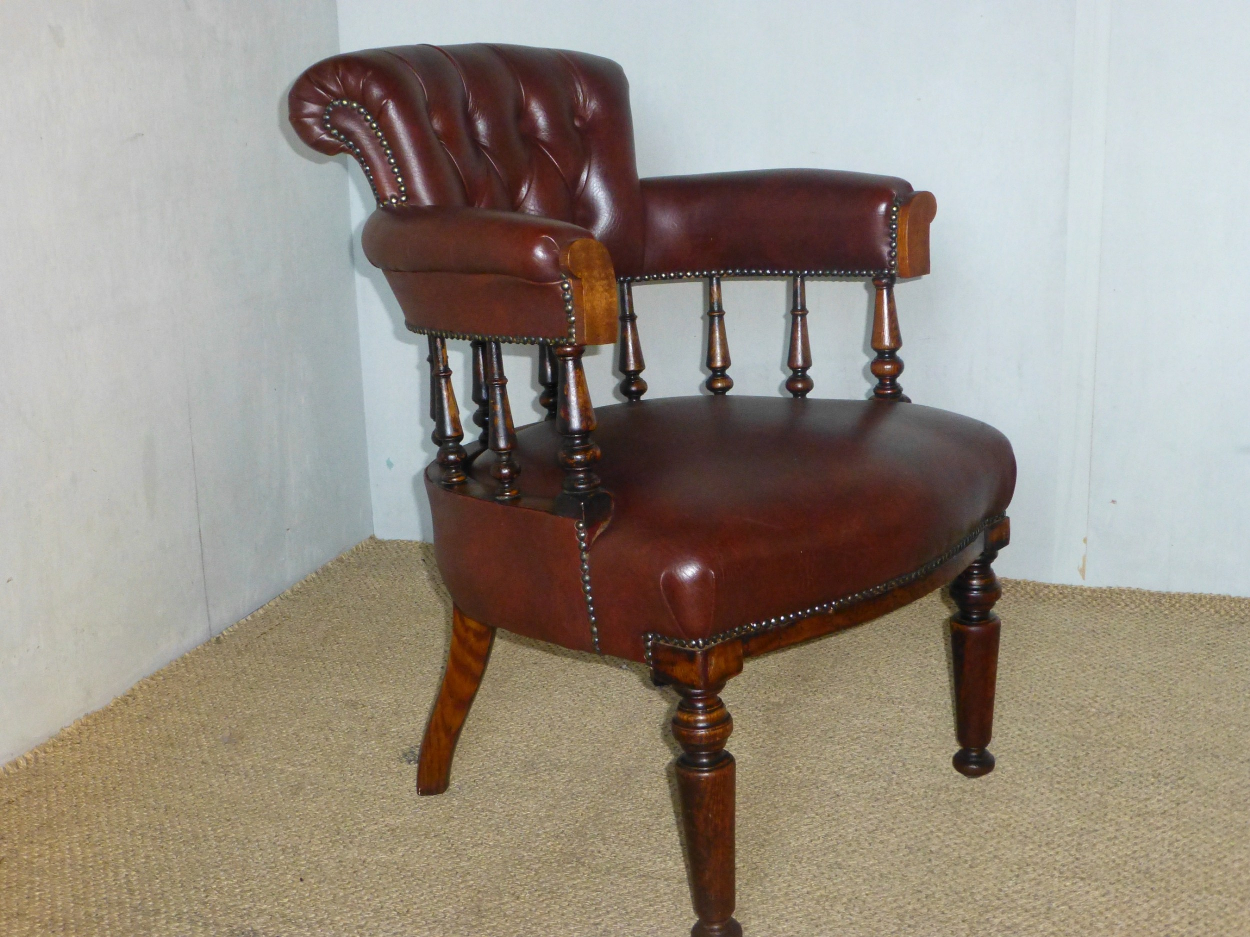 19th century victorian oak upholstered captains library desk chair c1870