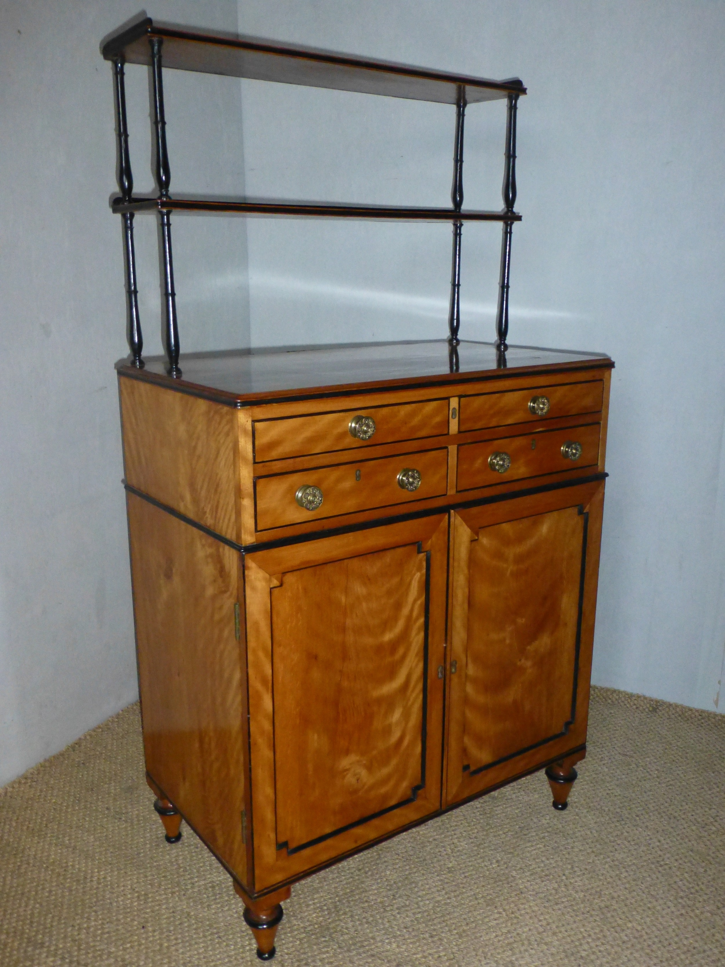 a superb quality regency sheraton period small satinwood secretaire chiffonier sideboard c1790