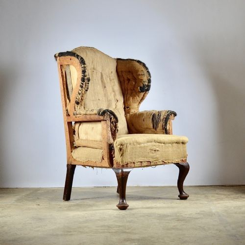 large cabriole leg wing chair