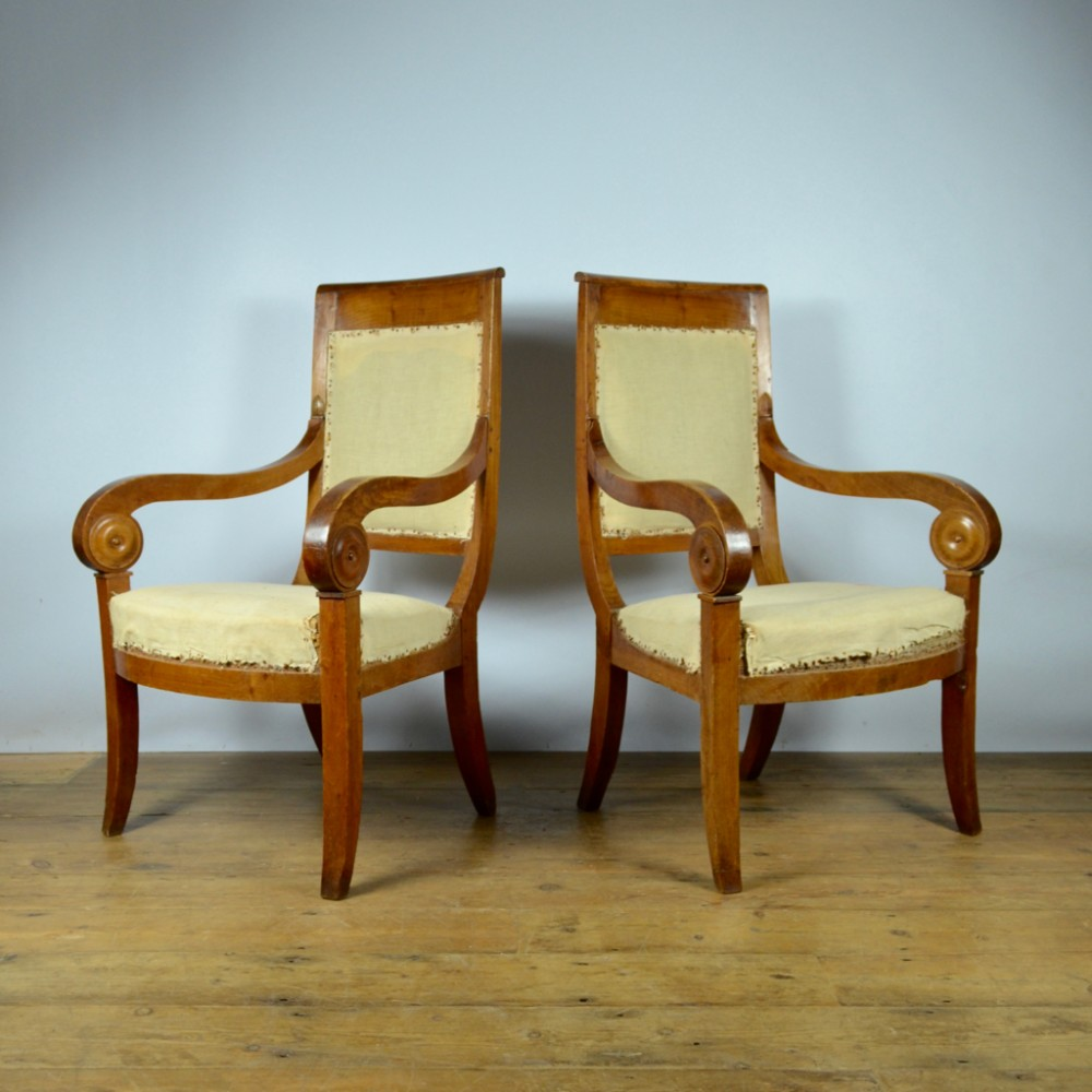pair of 19th century empire french chairs inc full reupholstery