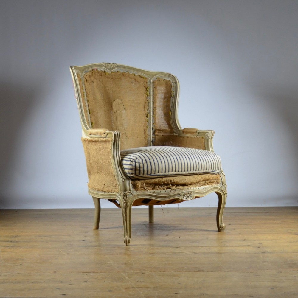 painted french wing chair reupholstery included