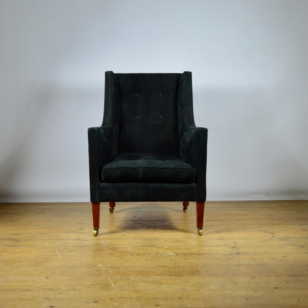 black suede library chair