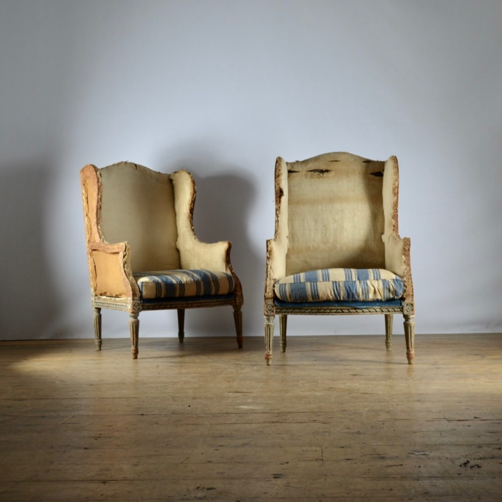 pair of french painted bergere wing chairs full reuphol inc