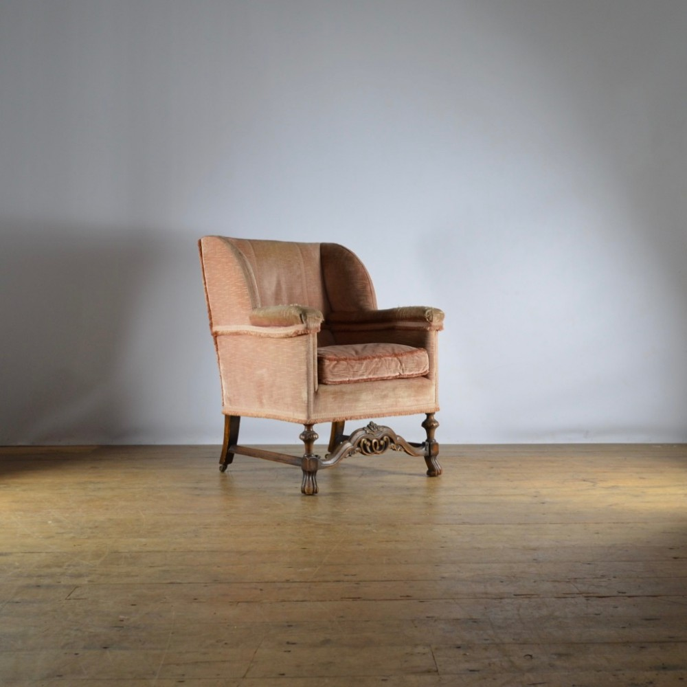 1920's walnut armchair full reupholstery inc