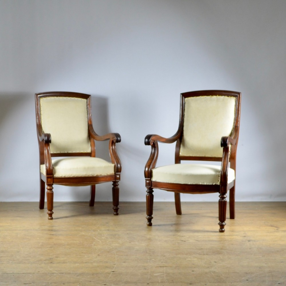pair of french fauteuil full reupholstery inc