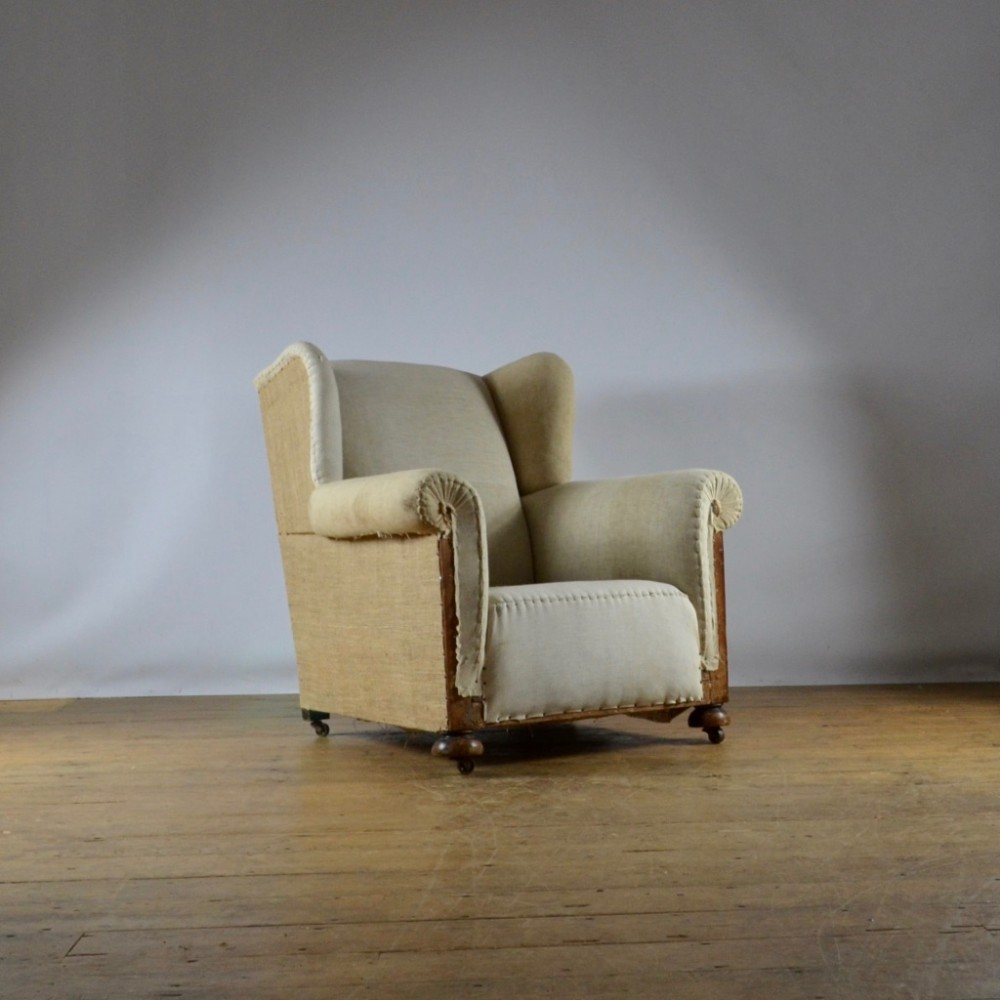 1930's winged armchair full reupholstery inc
