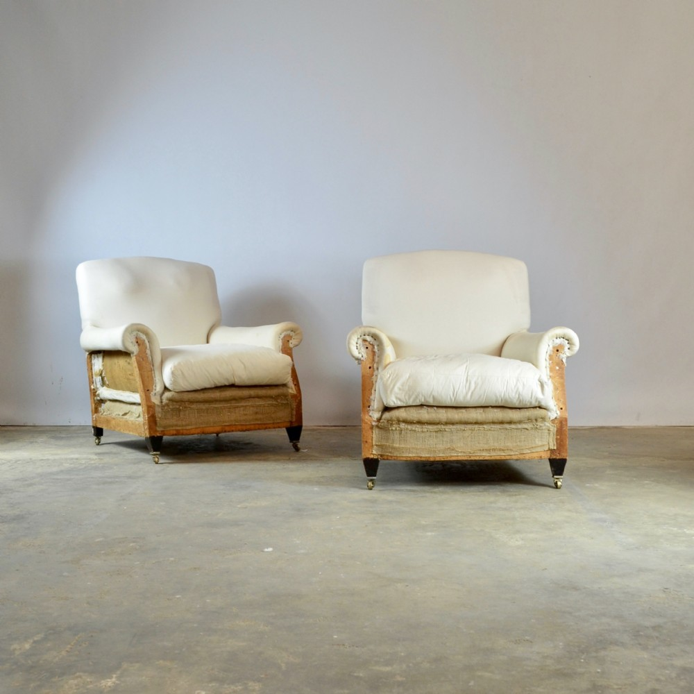 pair of edwardian armchairs full reupholstery inc