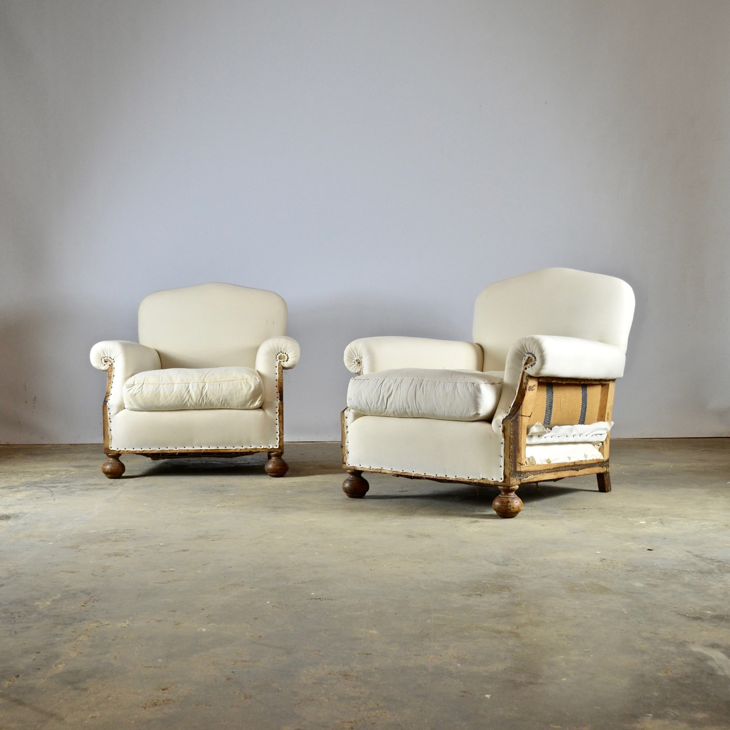 pair of 1930s armchairs full reupholstery inc