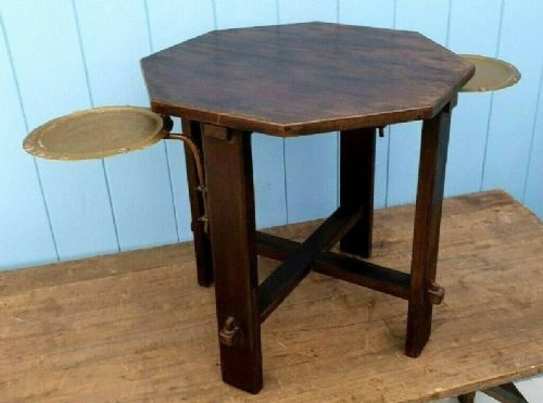arts and crafts victorian oak side table with swingout handhammered brass and copper drinks trays