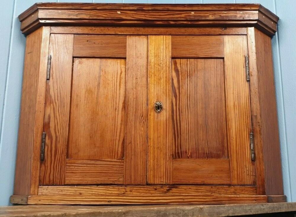 pitch pine corner cabinet cupboard made in scotland