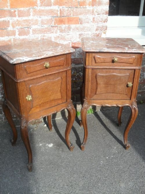Pair Of French Oak Marble Top Bedside Tables