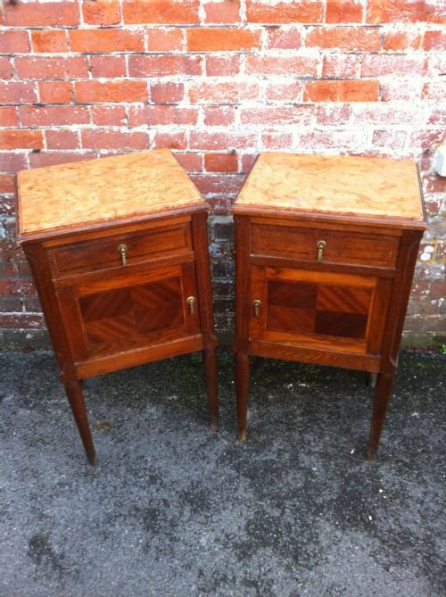 pair of late 19th century oak inlaid bedside tables