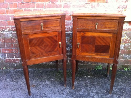 pair of late 19th century oak inlaid bedside tables - photo angle #2