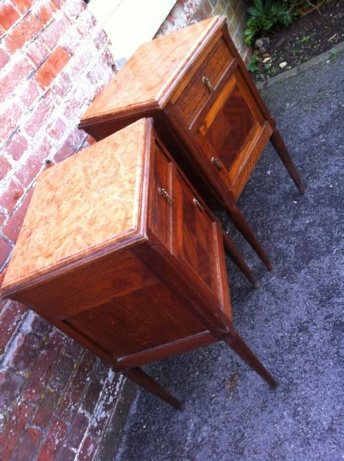 pair of late 19th century oak inlaid bedside tables - photo angle #3