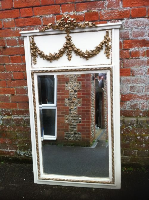 19th century decorative cream and gilt garland trumeau mirror