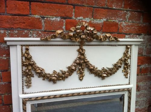 19th century decorative cream and gilt garland trumeau mirror - photo angle #2