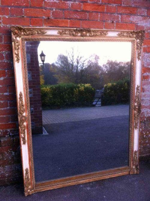 large antique french cream and gilt overmantel mirror