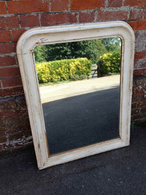 a very useful size original early antique 19th century french arched top cream carved wood gesso louis phillippe mirror