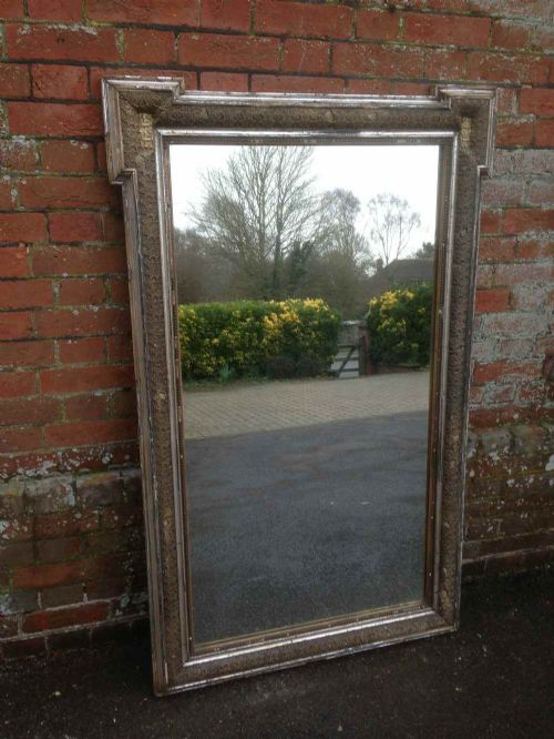 a stunning large highly decorative early antique 19th century french distressed original silvered mirror