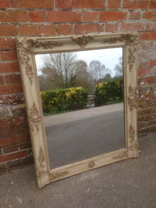 a very useful size early french antique 19th century painted louis phillipe overmantal mirror
