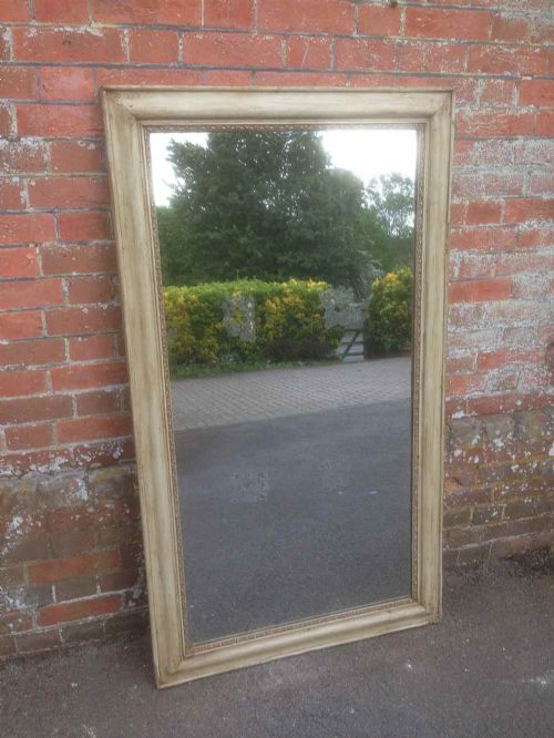 a very useful size early antique 19th century french plain carved wood gesso painted mirror