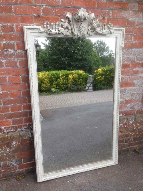 a large antique 19th century french carved wood gesso distressed painted mirror