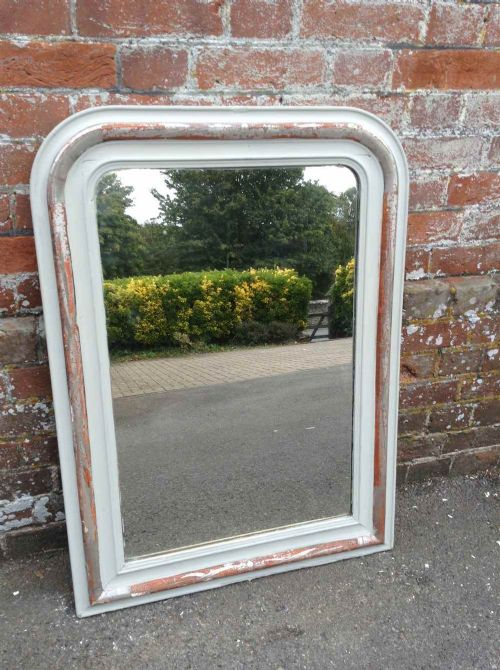 a useful size antique 19th century french silvered and painted arched top mirror