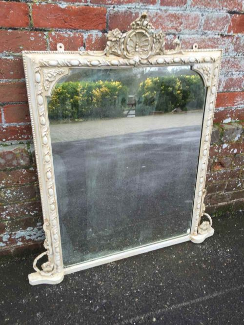 a very useful size antique 19th century french cream painted overmantel mirror