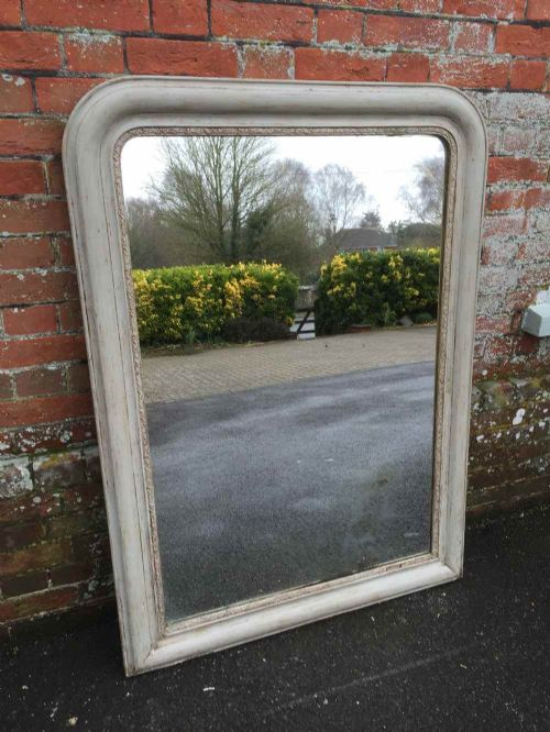 a good size early antique 19th century french painted arched top mirror