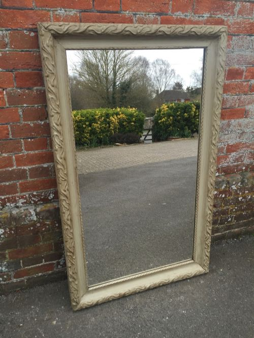a very useful size large antique 19th century french carved wood painted mirror