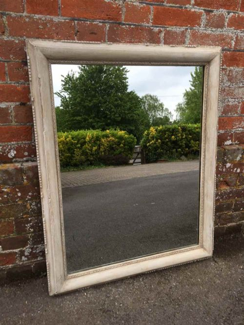 an early antique 19th century french carved wood gesso painted distressed mirror