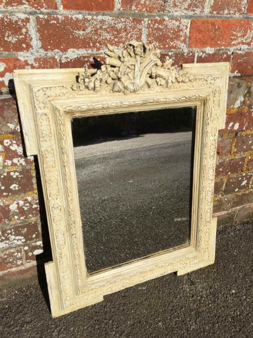 an unusual size antique 19th century french carved wood and gesso painted mirror