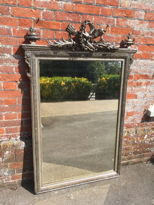 a fabulous large antique 19th century french original carved wood gesso silvered mirror